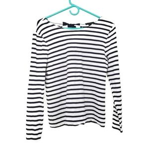 J. CREW | White tee with navy stripes and bows